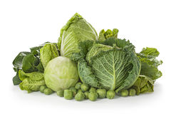 Assortment of fresh cabbages stock photo