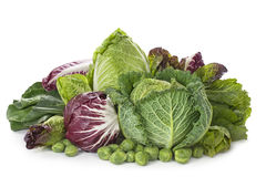 Assortment of fresh cabbages stock photos