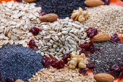 Assortment of fresh dried seeds Used as ingredients stock photo