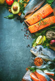 Assortment of fresh fish with aromatic herbs, spices and vegetab Royalty Free Stock Photo