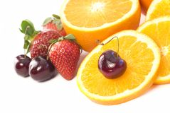 Assortment of fresh fruit copy space Stock Photo