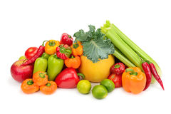 Assortment fresh fruit and vegetables Stock Photography