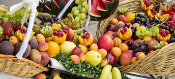 Assortment of fresh fruits in baskets Royalty Free Stock Image