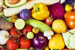 Assortment of fresh fruits and vegetables. Top view royalty free stock image