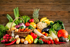 Assortment of the fresh fruits and vegetables Royalty Free Stock Images