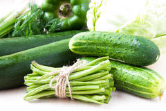 Assortment of fresh green vegetables for health Stock Photography