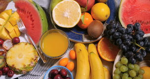 An assortment of fresh, healthy, organic fruits stock footage