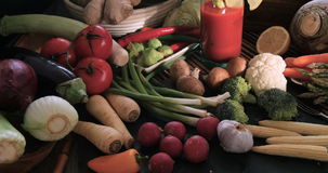 Assortment of fresh, healthy, organic vegetables stock video