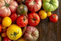 Assortment of Fresh Heirloom Tomatoes Stock Photo
