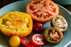 Assortment of Fresh Heirloom Tomatoes Royalty Free Stock Photos