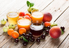 Assortment of fresh juices. stock images