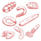 Assortment of fresh meat sausages red sketch icons Royalty Free Stock Image