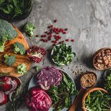 Assortment of fresh organic farmer vegetables food for cooking vegan vegetarian diet and nutrition. Healthy food, clean eating, top view, flat lay, copy space royalty free stock photos