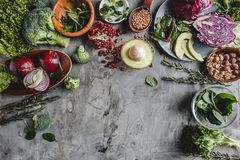 Assortment of fresh organic farmer vegetables food for cooking vegan vegetarian diet and nutrition. Healthy food, clean eating, top view, flat lay, copy space stock images