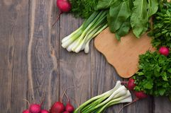 Assortment Fresh organic vegetables. Wooden background. The conc. Helathy vegan food cooking background. Flat-lay of fresh tomatoes, radishes, parsley, spinach royalty free stock photography
