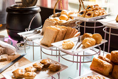 Assortment of fresh pastry on table Stock Images