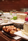 Assortment of fresh pastry on table in buffet Royalty Free Stock Photos