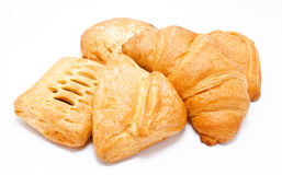 Assortment of fresh puff pastry isolated. On a white background Royalty Free Stock Photography