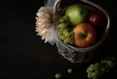 Assortment of fresh raw fruits in wicker basket on black background. With copy space. Assortment of fresh raw fruits in wicker basket on black background Royalty Free Stock Image
