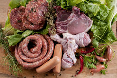 Assortment of fresh raw meat for the barbecue. Raw meat mix:ready to cook Stock Photo
