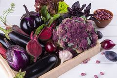 Assortment of fresh raw purple homegrown vegetables on dark wooden table. Cauliflower eggplant beets carrots potatoes plums basil onions garlic beans lettuce Royalty Free Stock Images