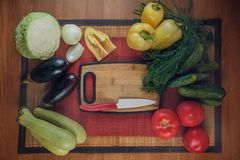 Assortment of fresh vegetables, autumn harvest, cooking vegetarian dishes, top view royalty free stock photo