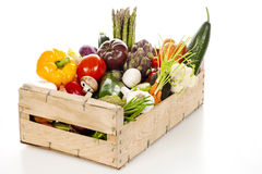 Assortment of fresh vegetables in a crate Stock Images