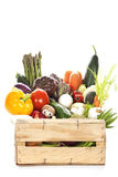 Assortment of fresh vegetables in a crate Stock Photos