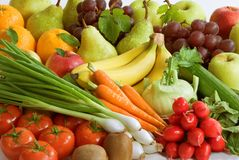 Assortment of fresh vegetables and fruit Royalty Free Stock Images