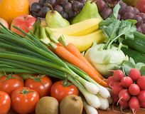 Assortment of fresh vegetables and fruit stock photos