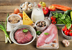 Assortment of Fresh Vegetables and Meats for Healthy Diet on rus Royalty Free Stock Image