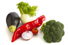 Assortment of fresh vegetables on white. Royalty Free Stock Images