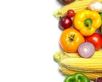 Assortment of fresh vegetables on white background, top view. Space for text royalty free stock photo