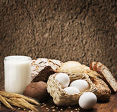 Assortment of freshly baked bread and organic products Royalty Free Stock Images