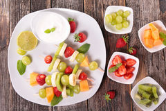 Assortment of fruit and cream Royalty Free Stock Photo