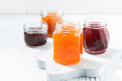 Assortment of fruit jams Royalty Free Stock Images