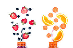 Assortment of fruit and vegetables smoothies royalty free stock photos