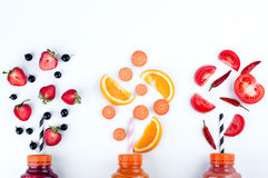 Assortment of fruit and vegetables smoothies royalty free stock photography