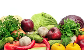 Assortment fruits and vegetables on white Royalty Free Stock Images