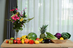 Assortment of Fruits and Vegetables on wooden Table Royalty Free Stock Image