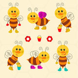 Assortment of funny bees Royalty Free Stock Photo