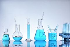 Assortment of glass containers for laboratory general view Stock Images