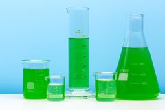 Assortment of glass containers for laboratory. Laboratory equipment. stock image