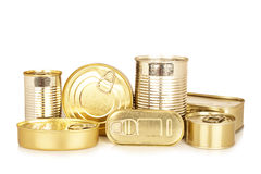 Assortment of golden food tin can Stock Photos