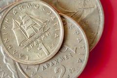 Assortment of Greek drachma coins. Stock Photos