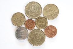 Assortment of Greek drachma coins. Royalty Free Stock Photography