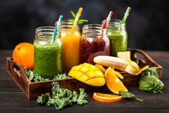 Assortment of smoothies Stock Photo