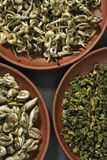 Assortment of green teas Stock Photography