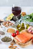 Assortment of healthy food low cholesterol Royalty Free Stock Photo