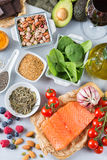 Assortment of healthy food low cholesterol Royalty Free Stock Photos